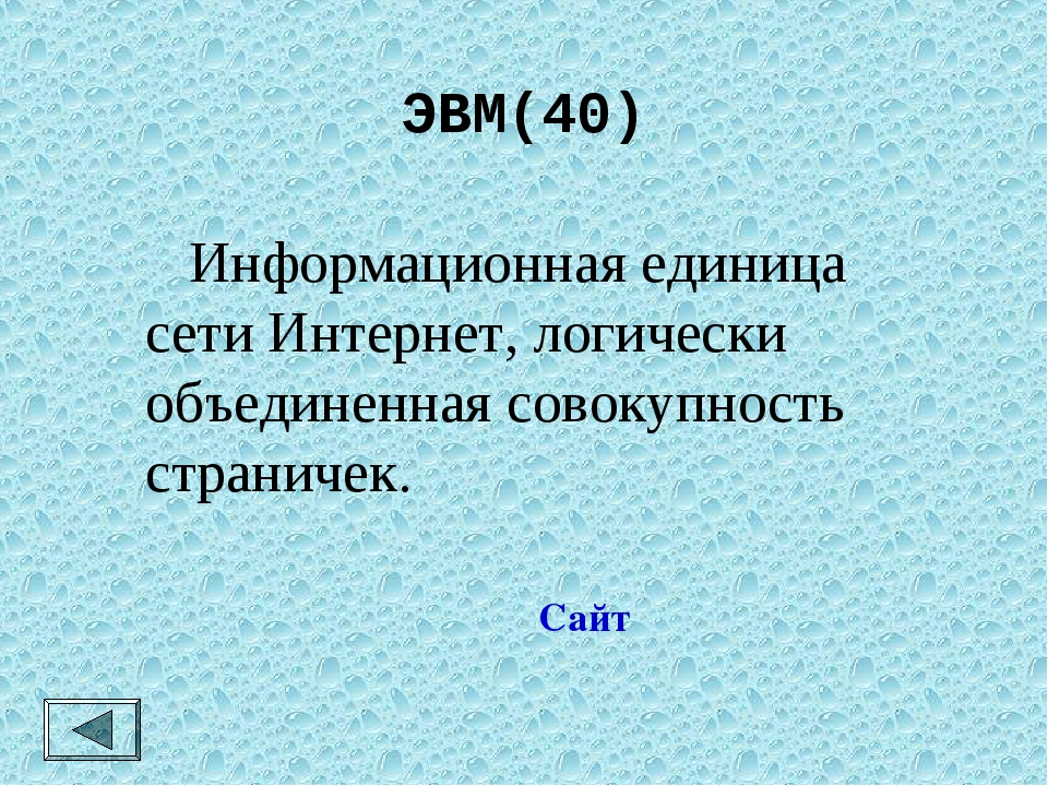 ЭВМ(40)  Информационная единица сети Интернет, логически объединенная совоку...