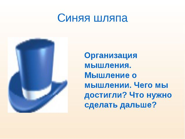 Синяя шляпа Организация мышления. Мышление о мышлении. Чего мы достигли? Что...