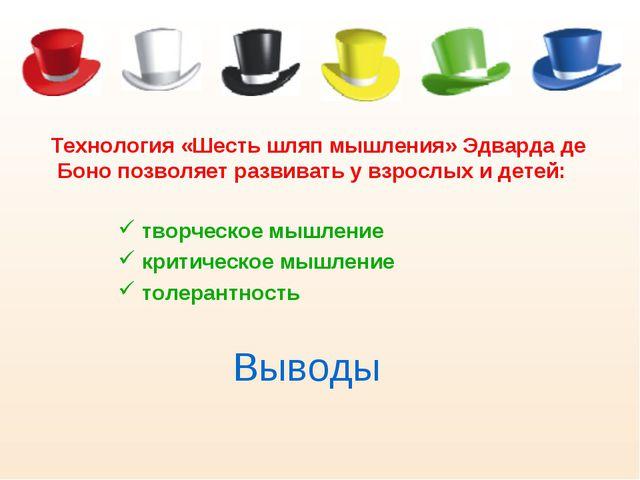 Выводы Технология «Шесть шляп мышления» Эдварда де Боно позволяет развивать у...