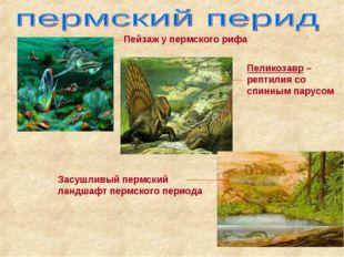 Пеликозавр –рептилия со спинным парусом Пейзаж у пермского рифа Засушливый пе