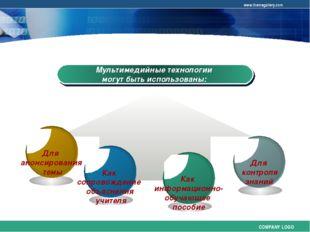 Мультимедийные технологии могут быть использованы: COMPANY LOGO www.themegall