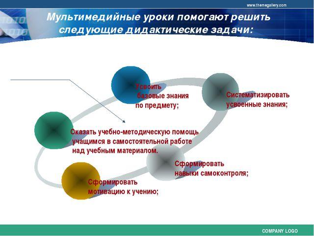 Мультимедийные уроки помогают решить следующие дидактические задачи: COMPANY...