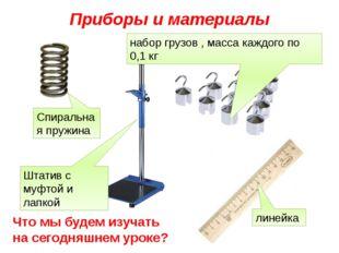 Приборы и материалы Спиральная пружина Штатив с муфтой и лапкой набор грузов