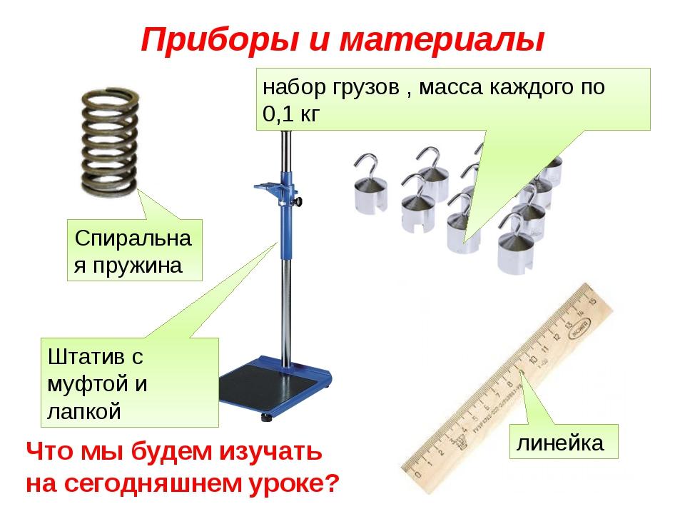 Приборы и материалы Спиральная пружина Штатив с муфтой и лапкой набор грузов...
