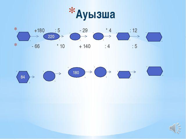 Ауызша +180 : 5 - 29 * 4 : 12 - 66 * 10 + 140 : 4 : 5 220 84 180