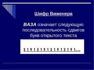 Шифр Виженера ВАЗА означает следующую последовательность сдвигов букв открыт