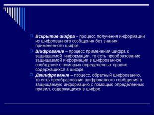 Вскрытие шифра – процесс получения информации из шифрованного сообщения без з