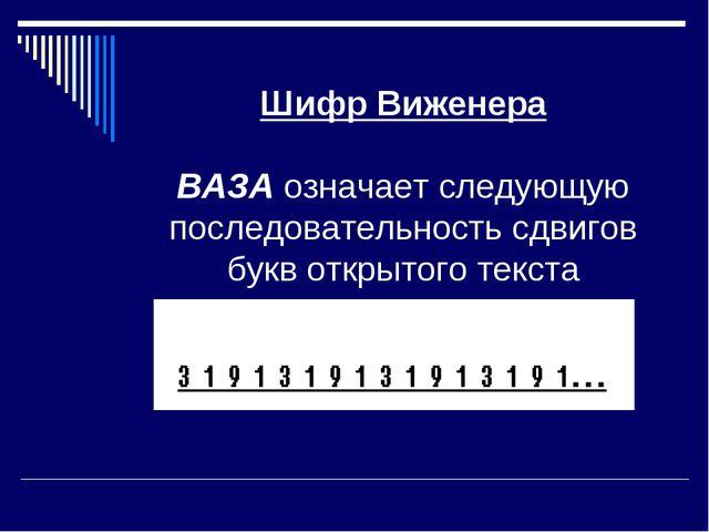 Шифр Виженера ВАЗА означает следующую последовательность сдвигов букв открыт...