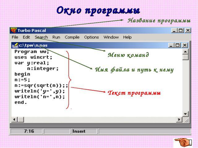 Окно программы Название программы Имя файла и путь к нему Меню команд Текст п...