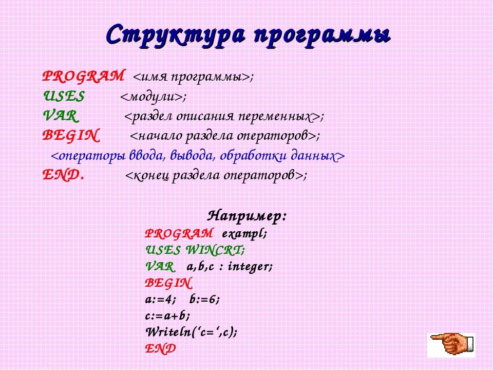 Структура программы PROGRAM ; USES ; VAR ; BEGIN ;  END. ; Например: PROGRAM...