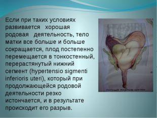 Если при таких условиях развивается хорошая родовая деятельность, тело матки