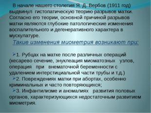 В начале нашего столетия Я. Д. Вербов (1911 год) выдвинул гистопатическую тео