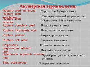 Акушерская терминология: Ruptura uteri imminens Ruptura uteri spontanea Rupt