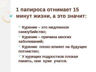 1 папироса отнимает 15 минут жизни, а это значит: Курение – это медленное сам