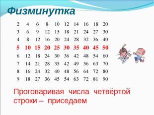 Физминутка Проговаривая числа четвёртой строки – приседаем 24681012141