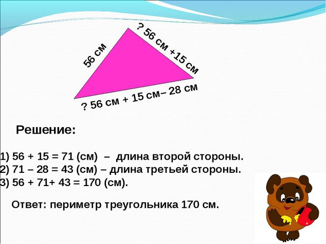 56 см ? 56 см + 15 см– 28 см ? 56 см +15 см 1) 56 + 15 = 71 (см) – длина втор...
