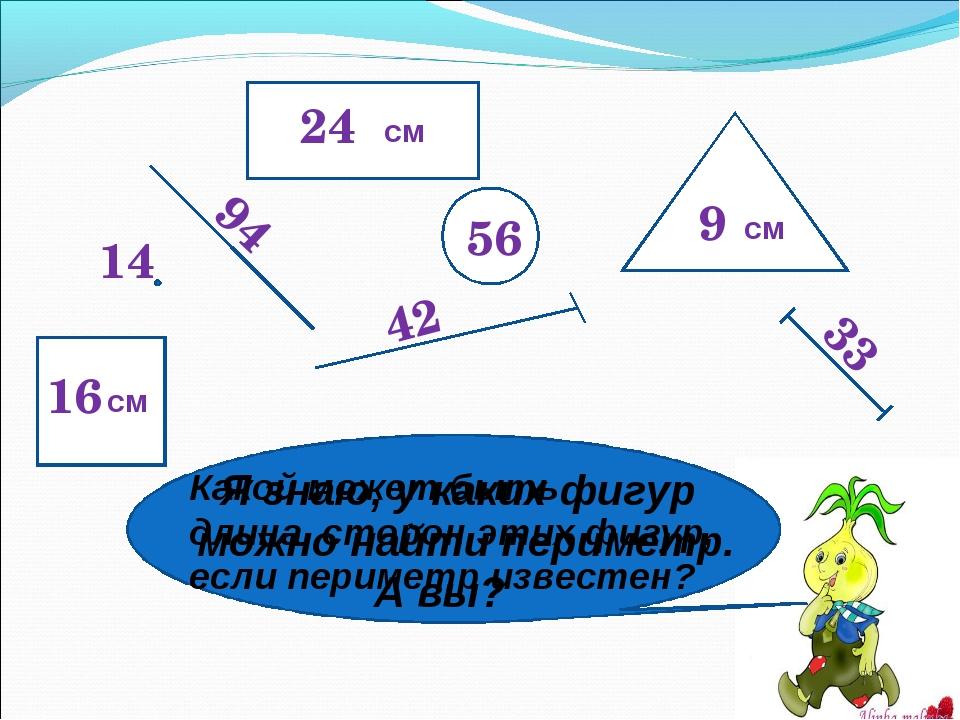 24 56 94 42 14 9 33 16 Я знаю, у каких фигур можно найти периметр. А вы? Како...