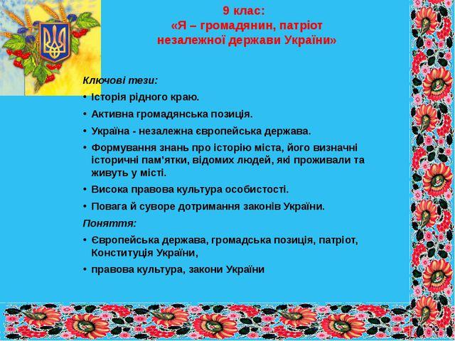 9 клас: «Я – громадянин, патріот незалежної держави України» Ключові тези: Іс...