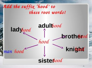 Add the suffix 'hood' to these root words! hood adult brother sister knight l