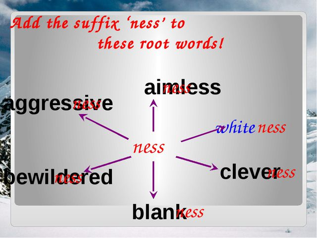 Add the suffix 'ness' to these root words! ness aimless white blank clever ag...