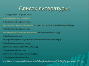 Список литературы: Изображение северного оленя: http://helpanimal.ucoz.ru/1-5