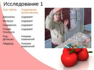 Исследование 1 Сорт яблокСодержание ионов железа Джонатансодержит Мелроузс