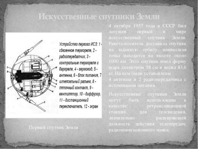 4 октября 1957 года в СССР был запущен первый в мире искусственный спутник Зе...