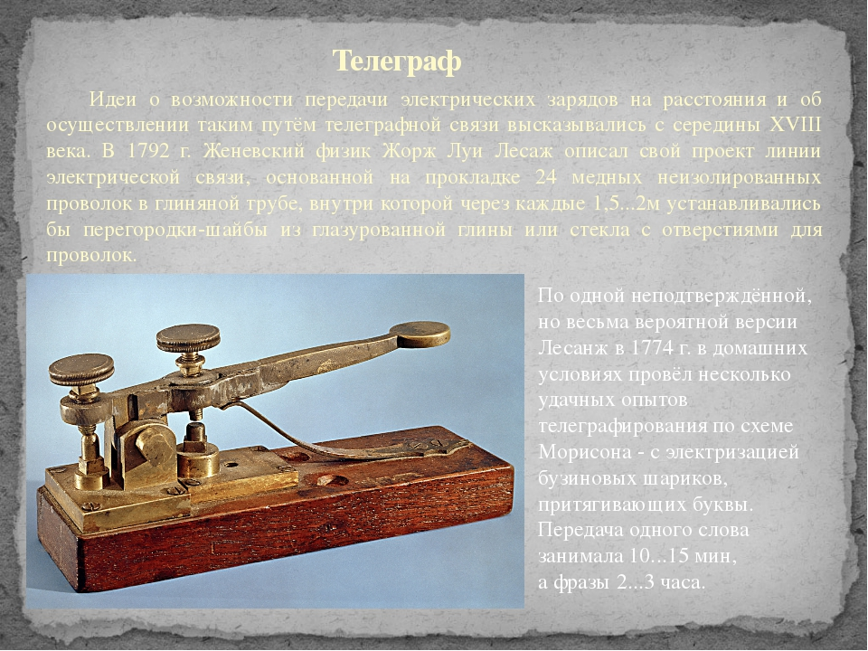 Телеграф Идеи о возможности передачи электрических зарядов на расстояния и о...