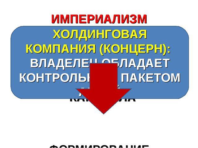 ИМПЕРИАЛИЗМ СЛИЯНИЕ БАНКОВСКОГО И ПРОМЫШЛЕННОГО КАПИТАЛОВ, ФОРМИРОВАНИЕ ФИНАН...