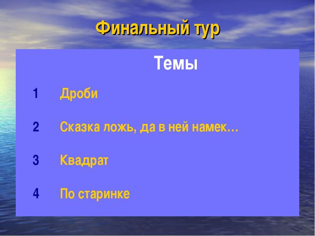 Финальный тур Темы 1Дроби 2Сказка ложь, да в ней намек… 3Квадрат 4По ста...