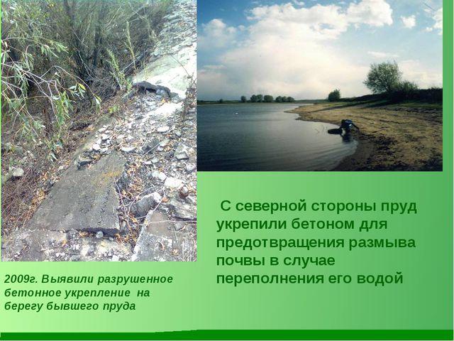 С северной стороны пруд укрепили бетоном для предотвращения размыва почвы в...