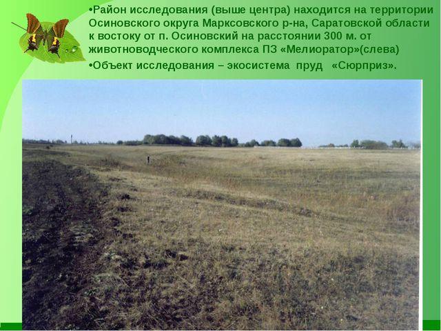 Район исследования (выше центра) находится на территории Осиновского округа М...