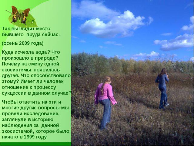 Так выглядит место бывшего пруда сейчас. (осень 2009 года) Куда исчезла вода?...