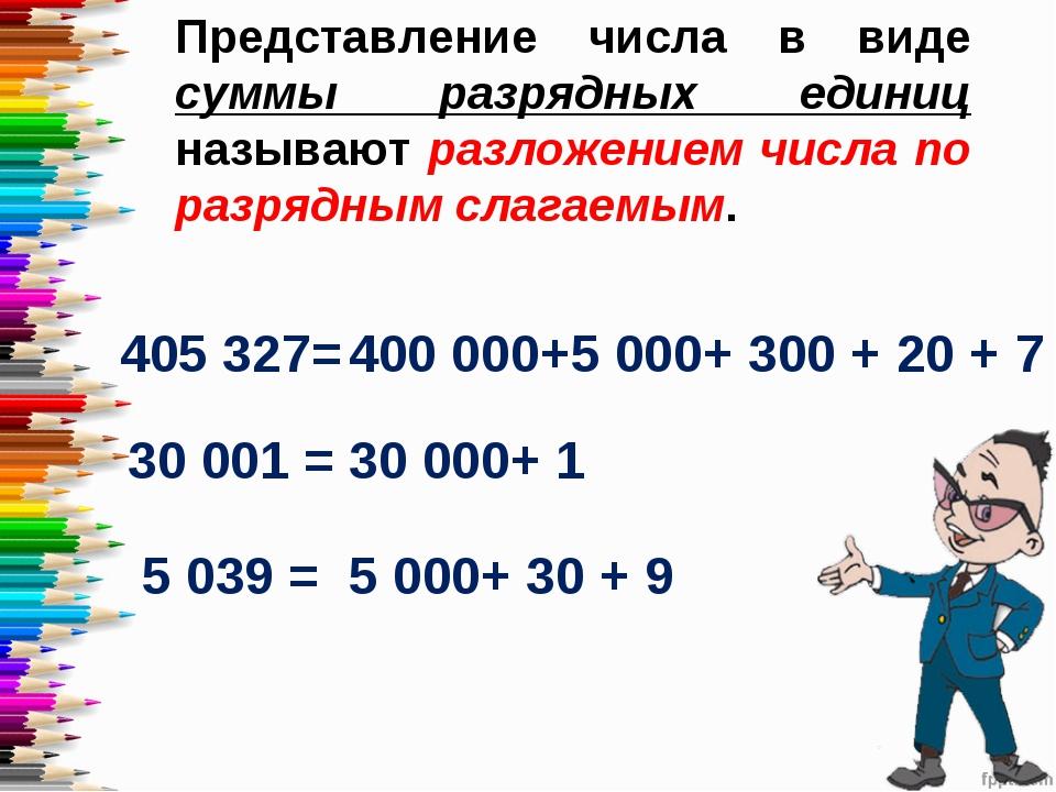 Представление числа в виде суммы разрядных единиц называют разложением числа...