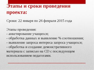 Этапы и сроки проведения проекта: Сроки: 22 января по 26 февраля 2015 года Эт