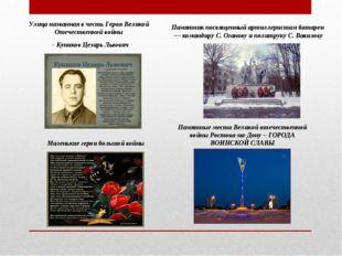 Улица названная в честь Героя Великой Отечественной войны - Куников Цезарь Ль