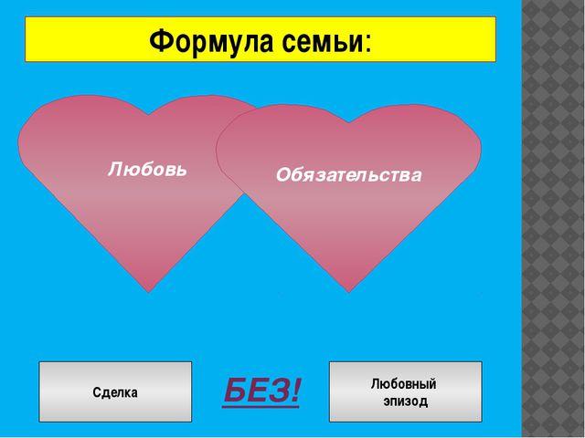 Формула семьи: Любовь Обязательства БЕЗ! Сделка Сделка Любовный эпизод