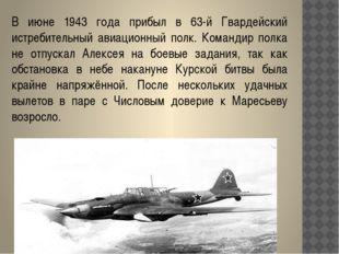 В июне 1943 года прибыл в 63-й Гвардейский истребительный авиационный полк. К