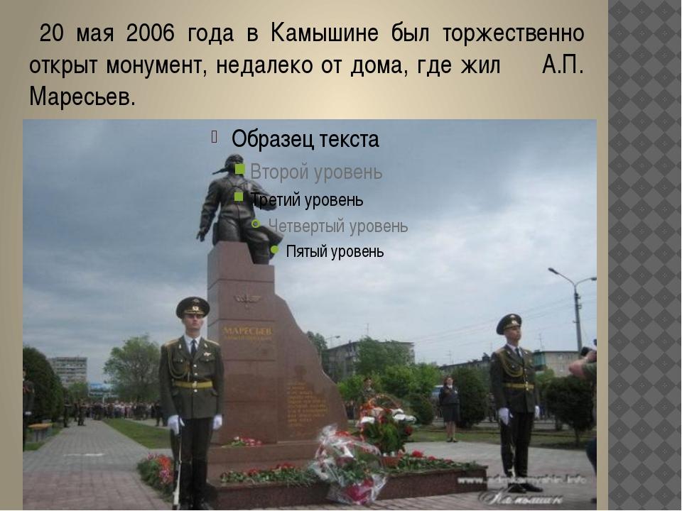 20 мая 2006 года в Камышине был торжественно открыт монумент, недалеко от до...
