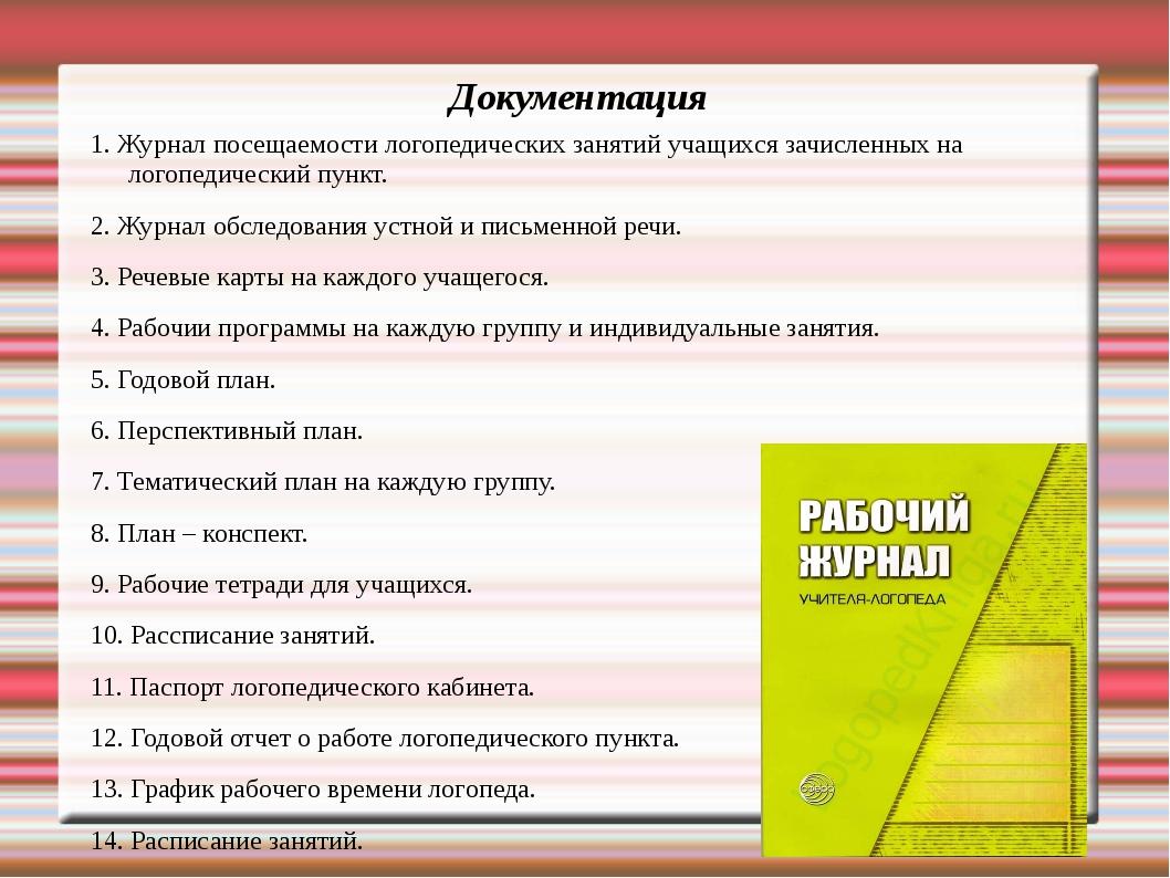 Документация 1. Журнал посещаемости логопедических занятий учащихся зачисленн...