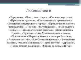 Любимые книги «Бородино», «Васюткино озеро», «Снежная королева», «Пропавшая г