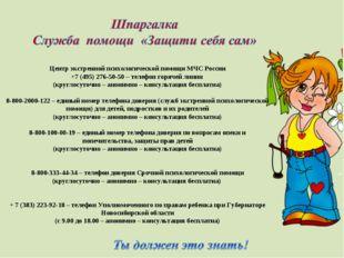 Центр экстренной психологической помощи МЧС России +7 (495) 276-50-50 – теле