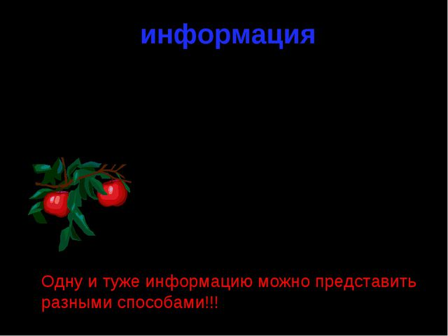 информация графическая текстовая числовая 2 Яблоки красные, спелые и сочные О...