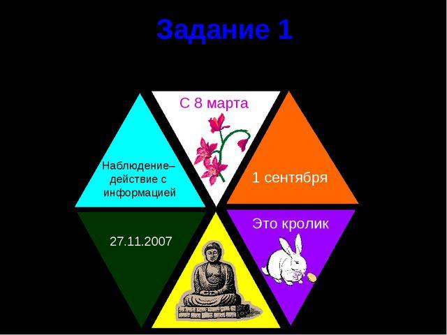 Задание 1 Определите какая информация представлена в треугольниках Наблюдение...