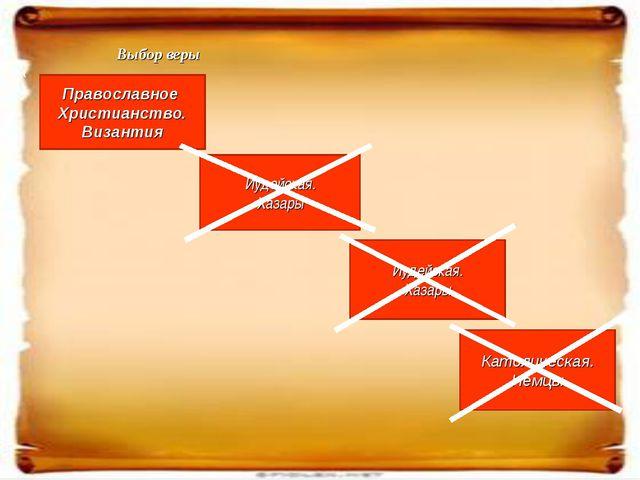 « Выбор веры Православное Христианство. Византия Иудейская. Хазары Иудейская....