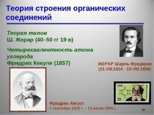 Теория строения органических соединений * Теория типов Ш. Жерар (40–50 гг 19