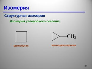 Изомерия * Структурная изомерия Изомерия углеродного скелета циклобутан метил