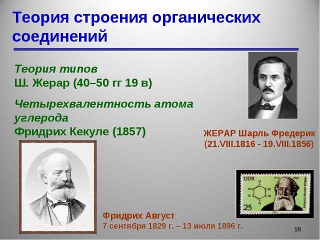 Теория строения органических соединений * Теория типов Ш. Жерар (40–50 гг 19...