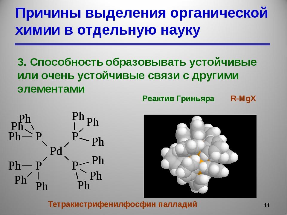 Причины выделения органической химии в отдельную науку * 3. Способность образ...