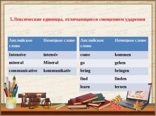 5.Лексические единицы, отличающиеся смещением ударения Английское слово Неме